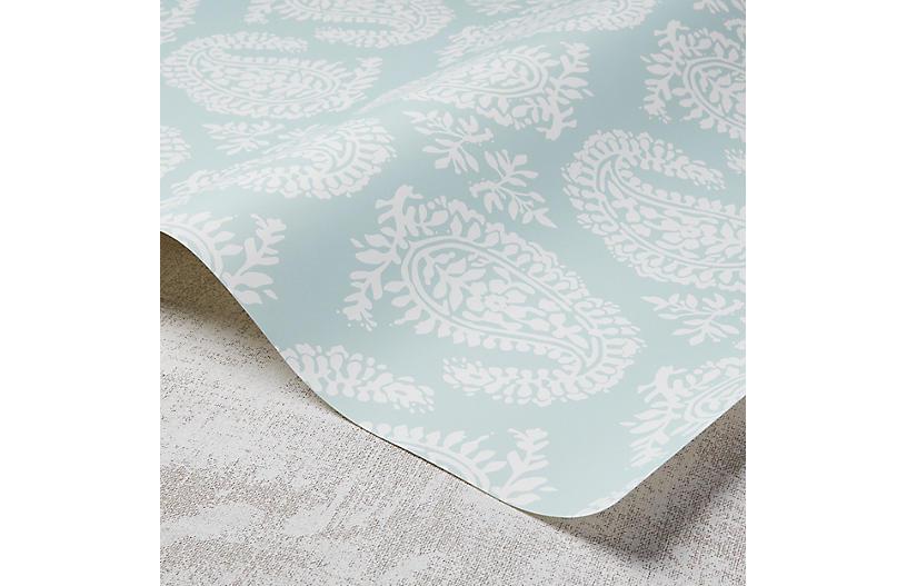 Paisley Wallpaper, Hydrangea/White