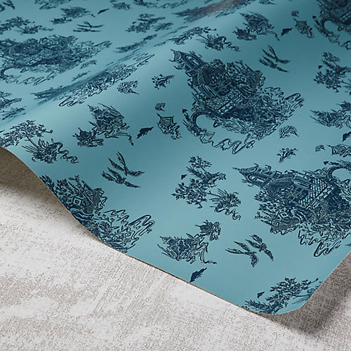 Chinoiserie Wallpaper, Harbour/Powdery Navy