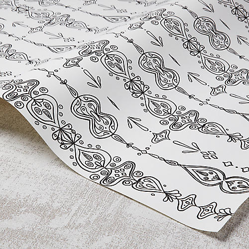 Moroccan Whimsy Wallpaper, White/Black