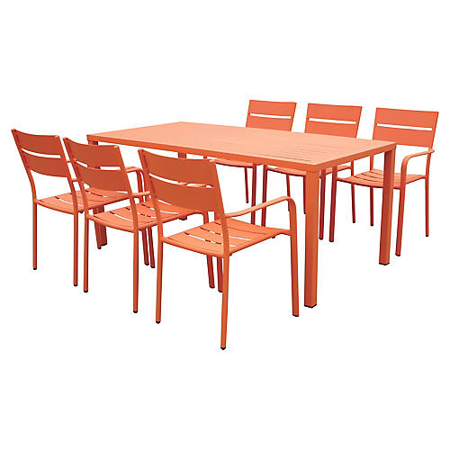Ricci 7-Pc Dining Set, Orange