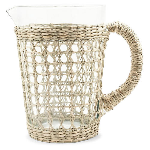 Seagrass Cage Pitcher, Natural/Clear