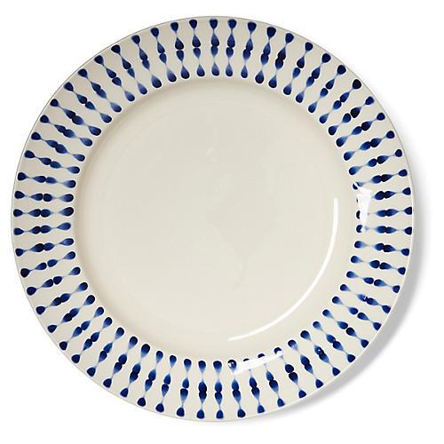S/4 Cua Dai Dinner Plates, Navy/Ivory