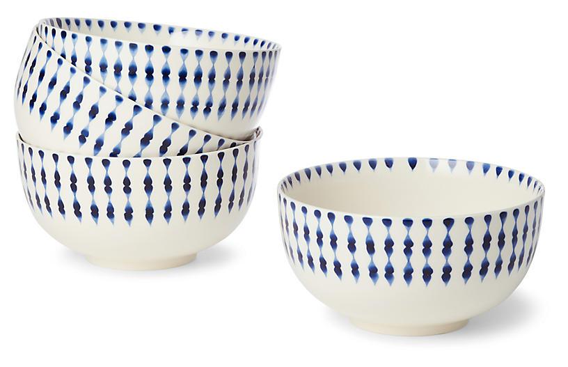 S/4 Cua Dai Dinner Bowls, Navy/Ivory