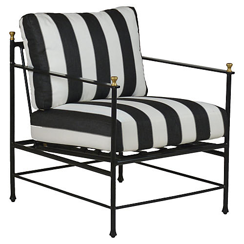 Frances Lounge Chair, Black/White Sunbrella
