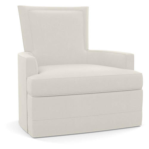 Cameron Swivel Club Chair, Natural Linen