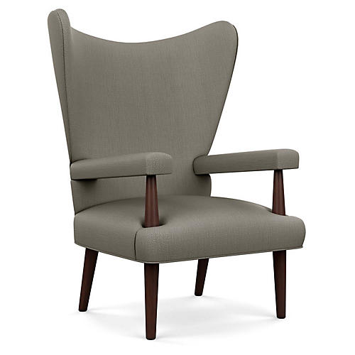 Liam Wingback Chair, Gray Diamond Linen