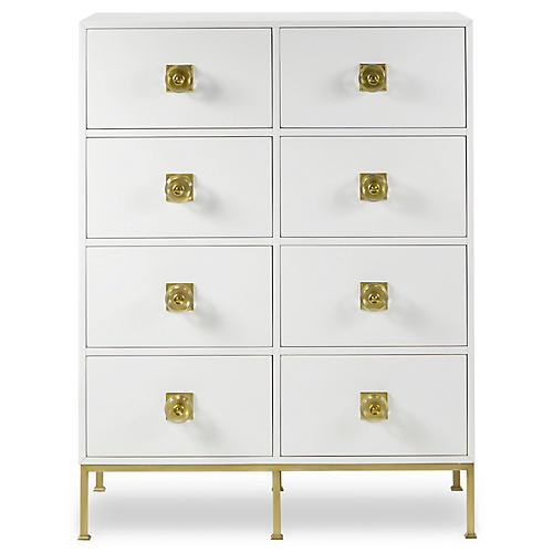 Formal 8-Drawer Dresser, Ivory/Brass
