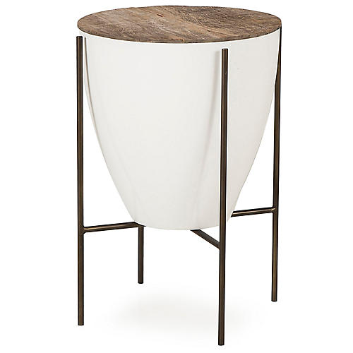 Danica Filter Side Table, Natural/White
