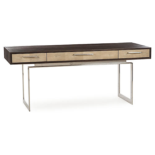 Latham Faux-Shagreen Writing Desk, Beige