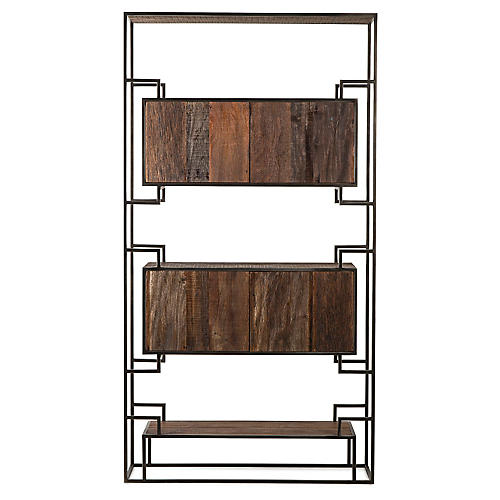Juana Bookcase, Natural/Black
