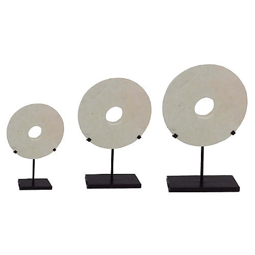 Asst. of 3 Disc Stand Accent, White/Ebony