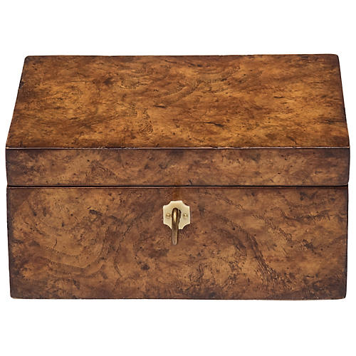 "7"" Burl Wood Decorative Box, White Ash"