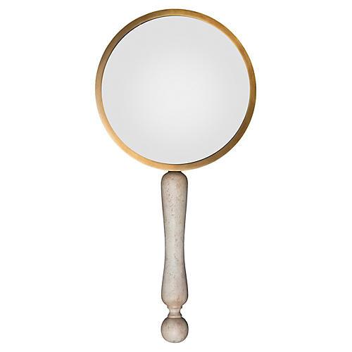 "10"" Fumed Oak & Brass Magnifying Glass, Whitewash"