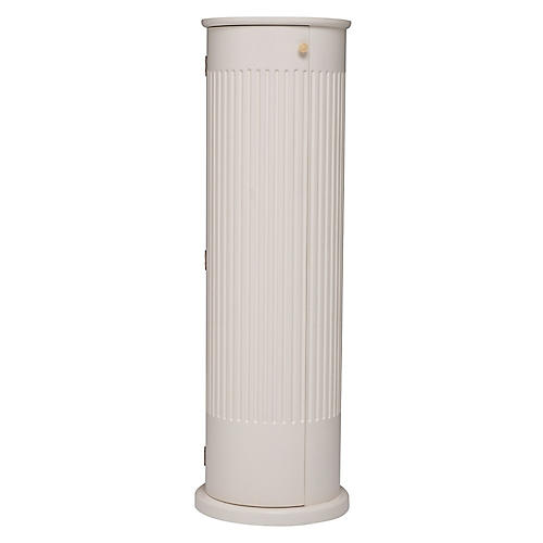 "48"" Highland Fluted Pedestal, White/Brass"