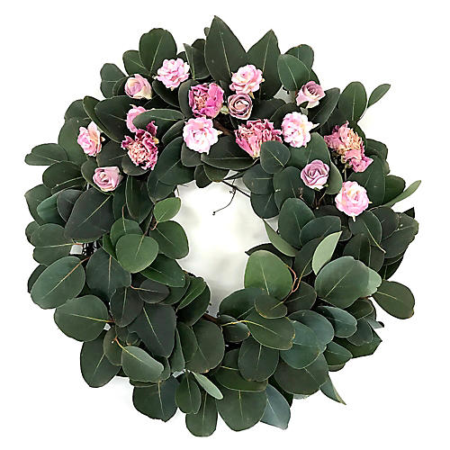 "20"" Peony Floral Wreath, Preserved"