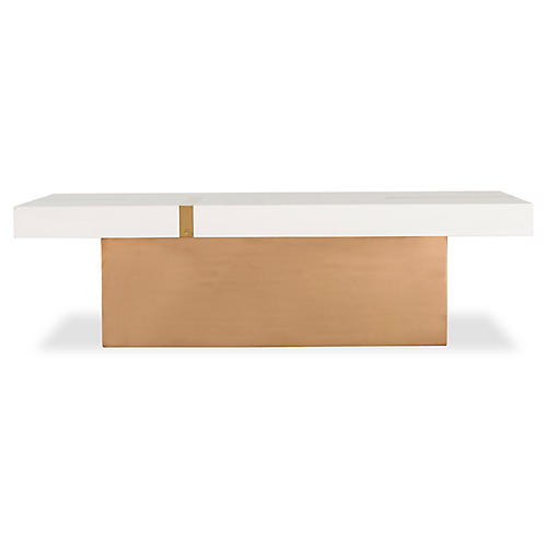 Band Coffee Table, Ivory/Gold