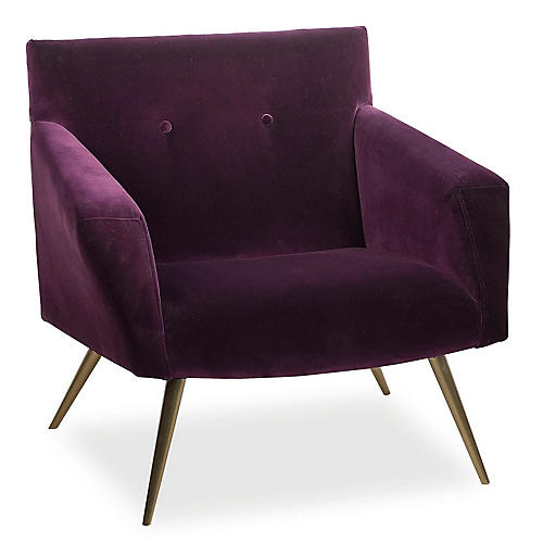 Kelly Accent Chair, Purple Velvet