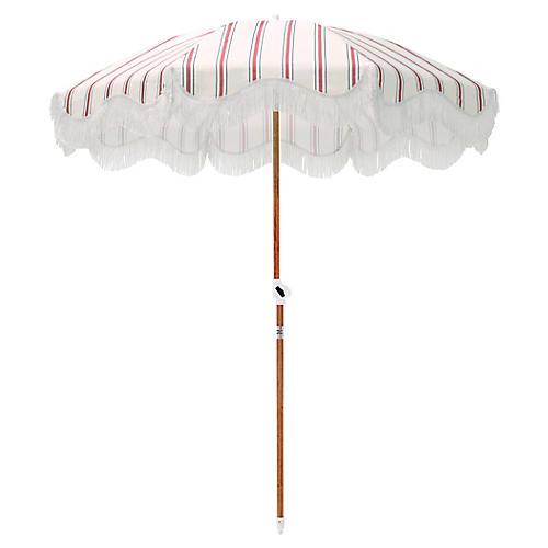 French Stripe Beach Umbrella, Red/Navy