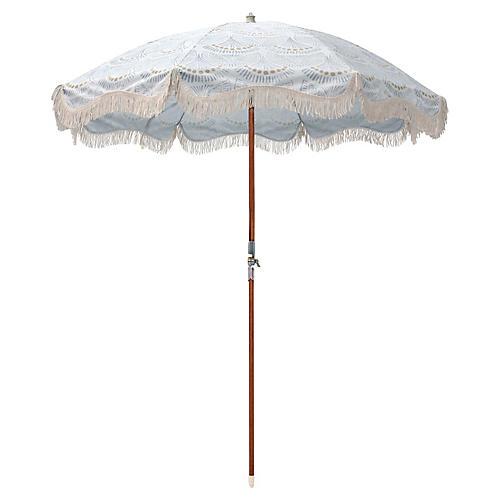 Scallop Print Beach Umbrella, Slate Blue/Gold