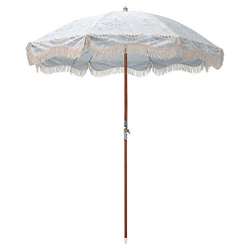 Scallop Print Beach Umbrella, Slate Blue/Gold