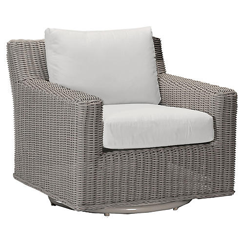 Rustic Oyster Swivel Club Chair, White