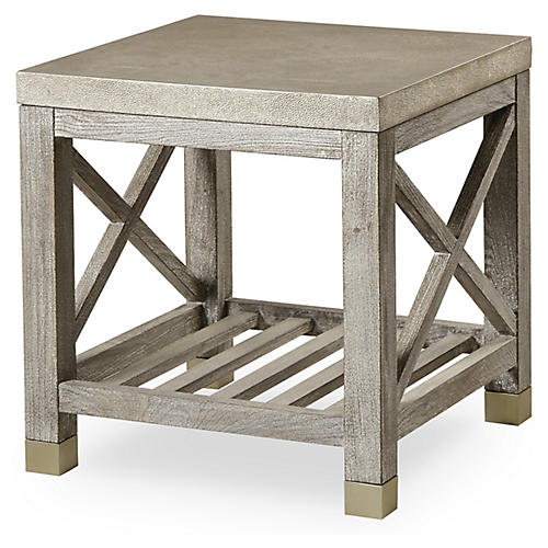 Percival Side Table, Faux Shagreen