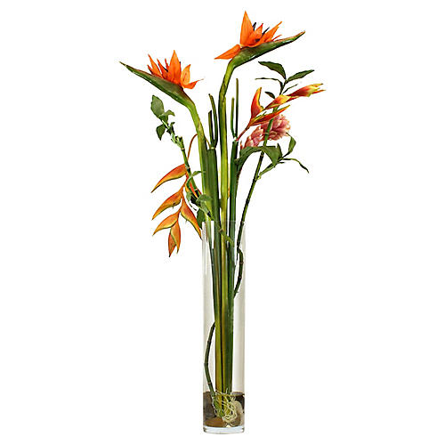 "45"" Bird-of-Paradise Arrangement w/ Vase, Faux"