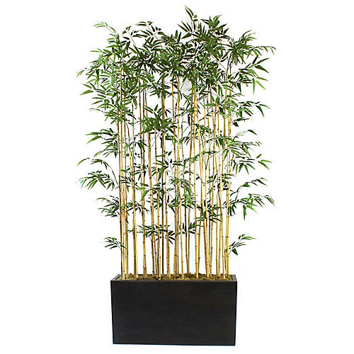 "96"" Bamboo Stalks w/ Wide Planter, Faux"