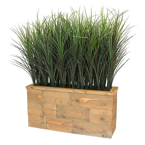 """30"""" Mixed Grasses w/ Wooden Planter, Faux"""