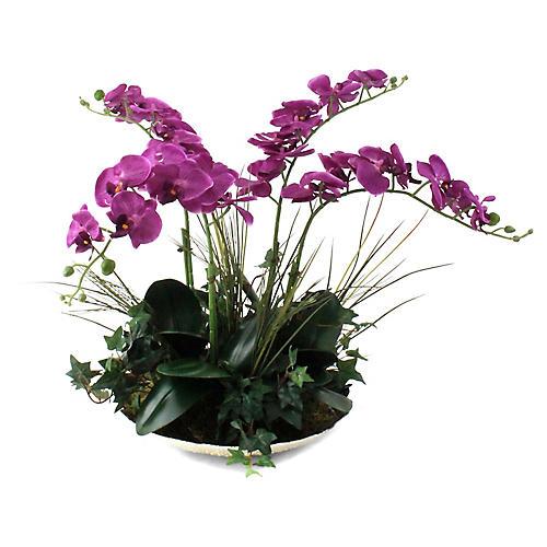 """24"""" Fuchsia Orchid w/ Bowl, Faux"""