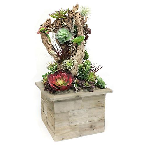 """50"""" Freestanding Succulents w/ Planter, Faux"""