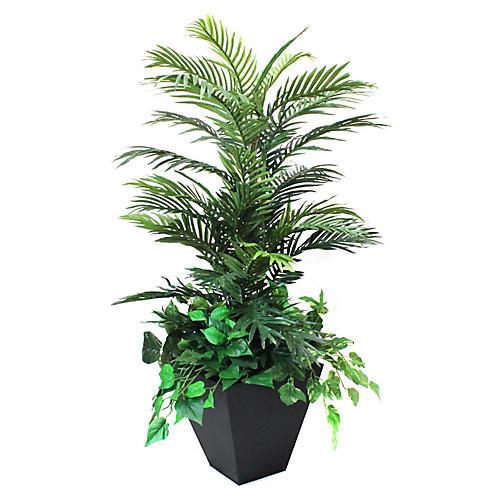 """48"""" Palm & Ivy Tree w/ Planter, Faux"""