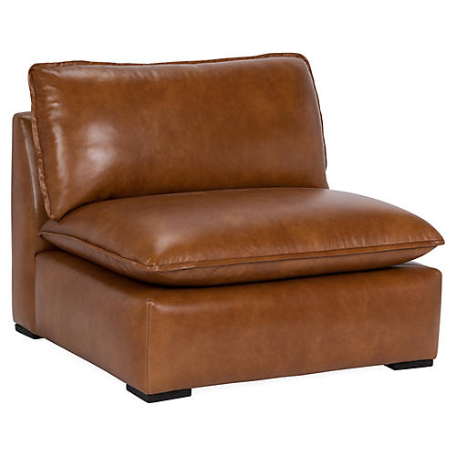 Maddox Slipper Chair, Caramel Leather