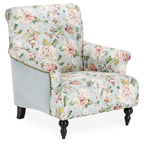 Grayson Club Chair, Light Blue Linen