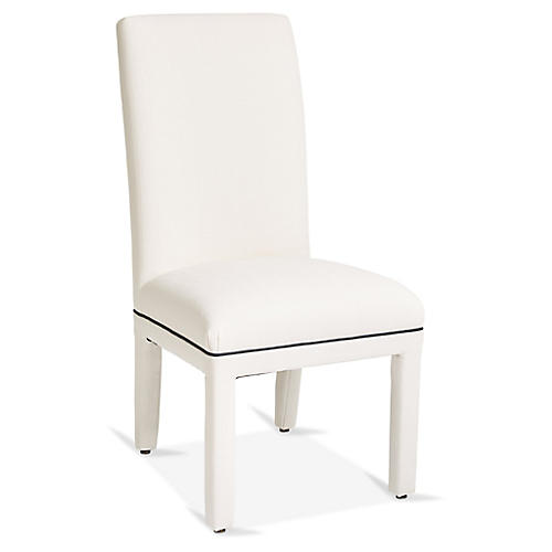 Monroe Side Chair, White/Navy Crypton