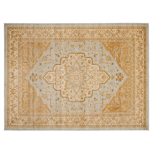 "2'6""x4' Brittany Rug, Light Gray/Gold"