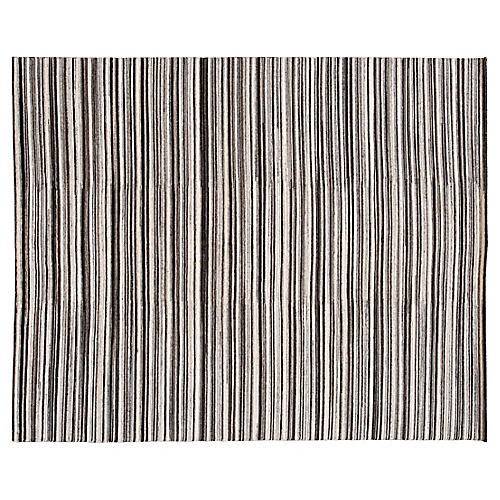 8'x10' Modern Striped Hand-Knotted Rug, Natural