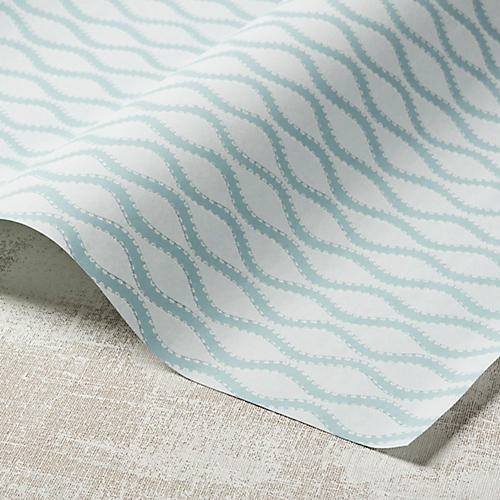 Ribbon Wave Wallpaper, Aqua