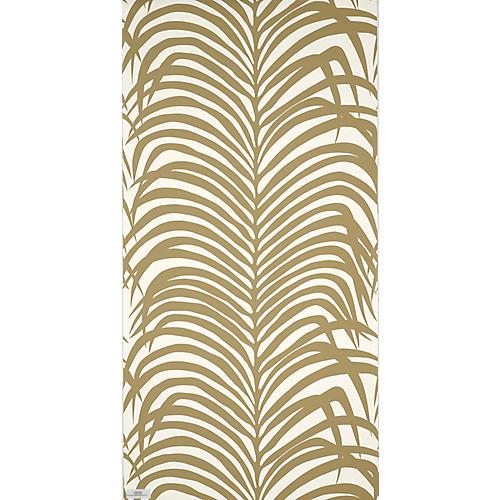 Zebra Palm Wallpaper, Khaki