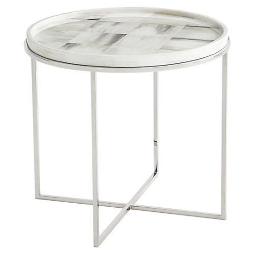 Quadrilaterals Round Side Table, Ivory