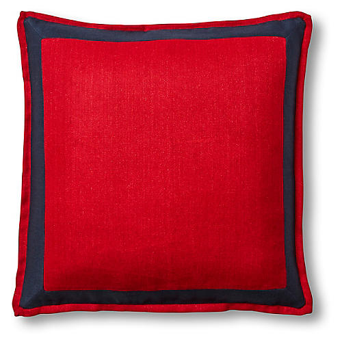 Lilly 22x22 Pillow, Navy/Red Linen