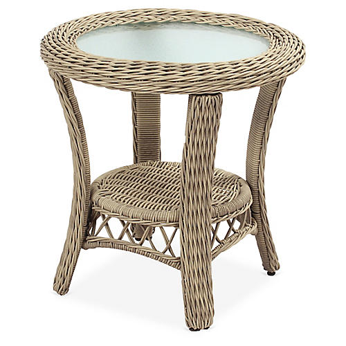 Arcadia Wicker Side Table, Driftwood