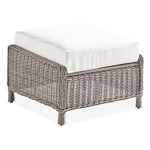 Westbay Wicker Ottoman, Slate Gray/Canvas