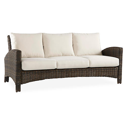 Panama Wicker Sofa, Brown/Canvas