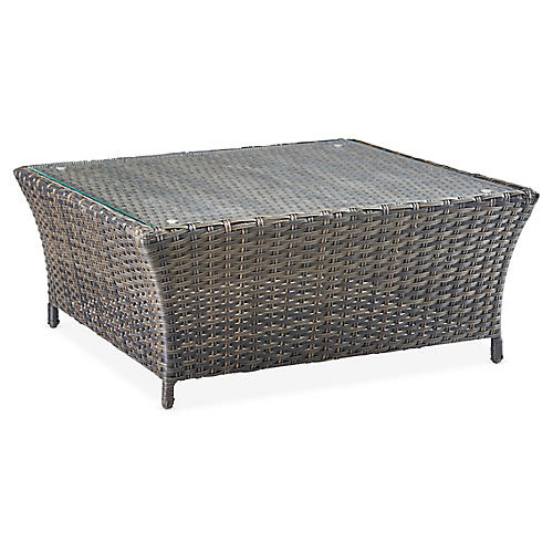 Panama Wicker Square Coffee Table, Brown