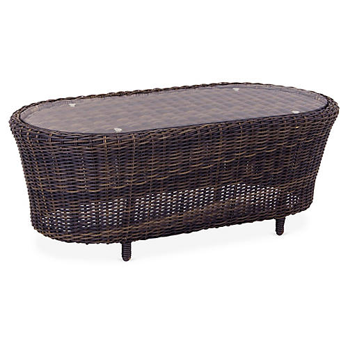 St. John Wicker Coffee Table, Brown