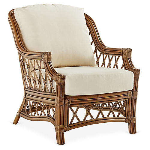 Nadine Rattan Club Chair, Natural/White