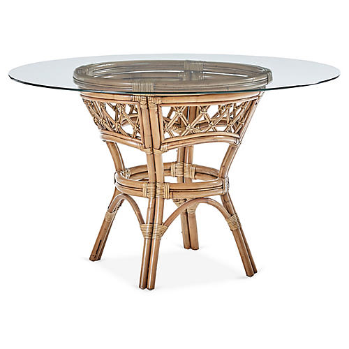 Nadine Rattan Round Dining Table, Natural