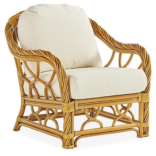 New Twist Rattan Club Chair, Natural/White