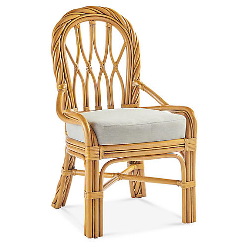 New Twist Rattan Dining Side Chair, Natural/White